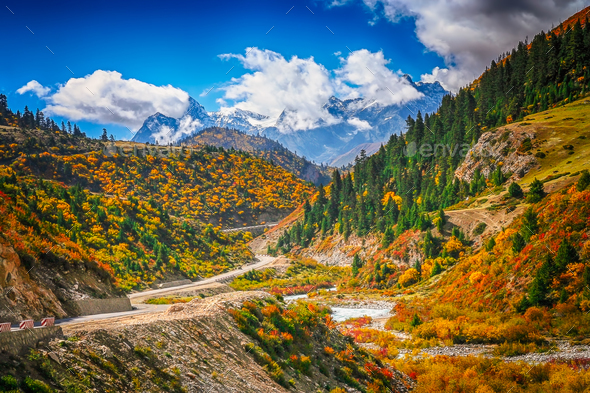 Mountain river valley in Yunnan - Stock Photo - Images