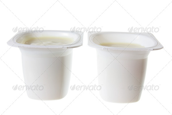 Tubs of Yoghurt - Stock Photo - Images