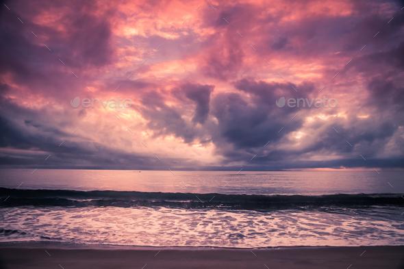 Madagascar coastline at sunset - Stock Photo - Images