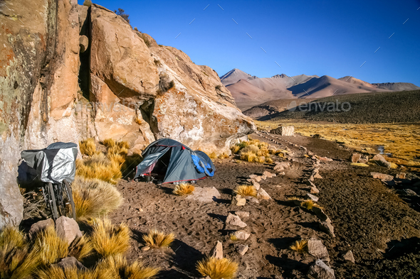 Camping among rocks - Stock Photo - Images