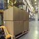 Cart with Merchandise Moving in Warehouse