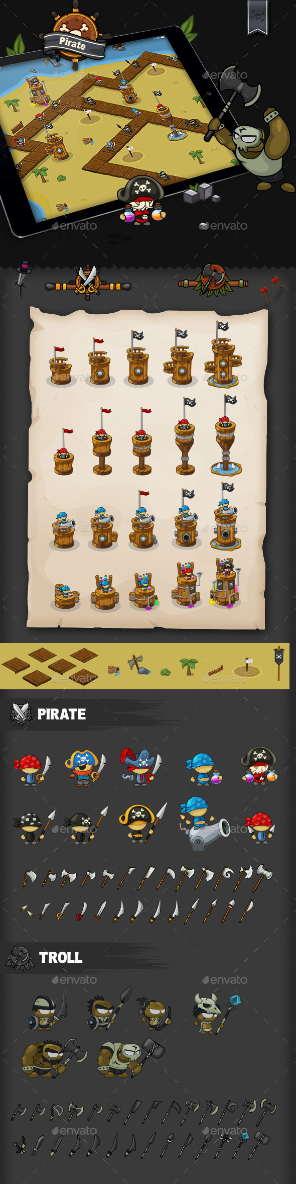 Tower Defense Game Set Pirate - Game Kits Game Assets