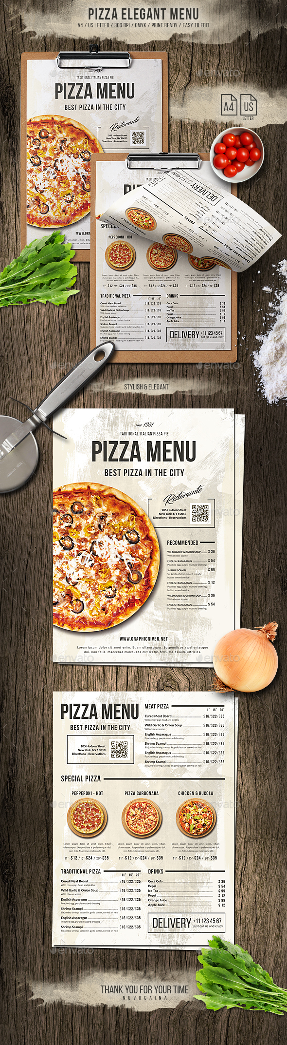 Pizza Elegant Menu - A4 and US Letter - Food Menus Print Templates