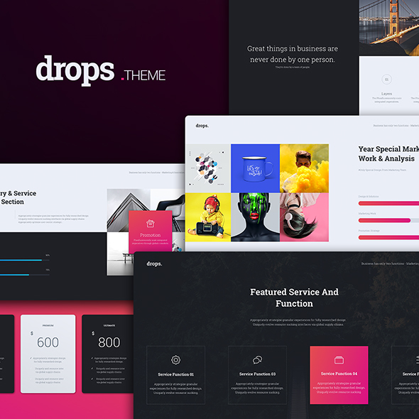 drops multipurpose & creative powerpoint templatesimplesmart, Modern powerpoint