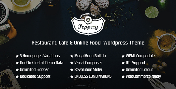 Peppery - Restaurant/Cafe/Food Online WP Theme - Restaurants & Cafes Entertainment