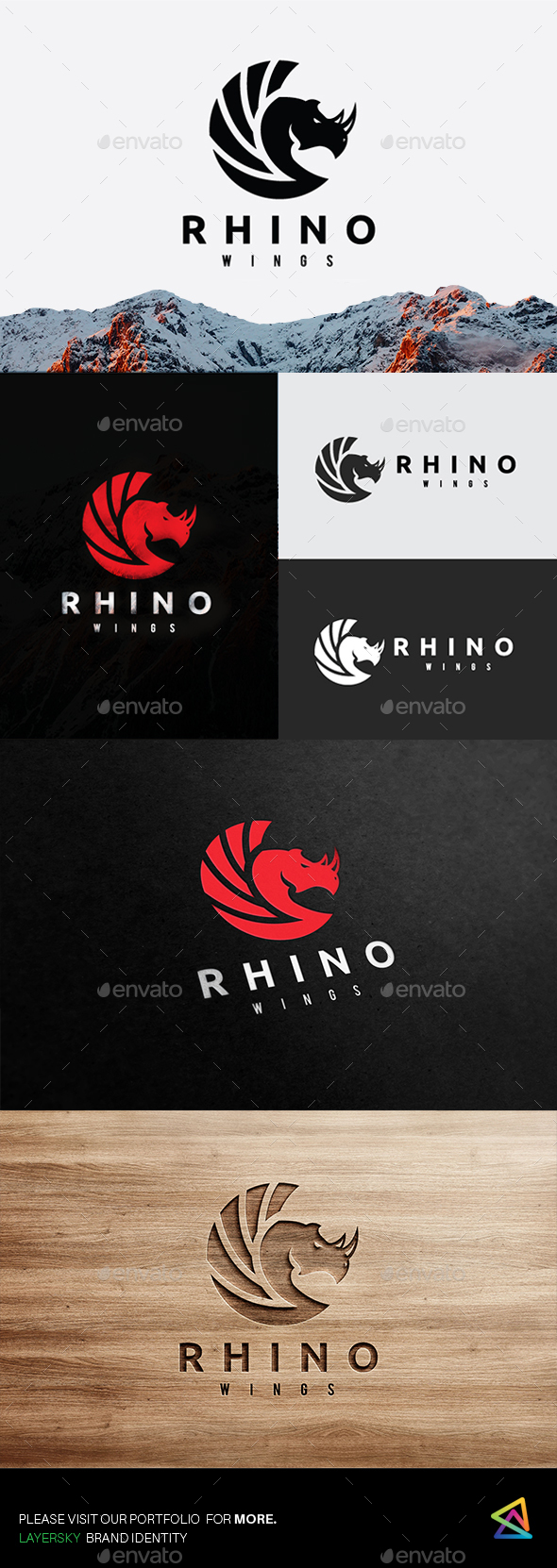 Rhino Wing - Animals Logo Templates