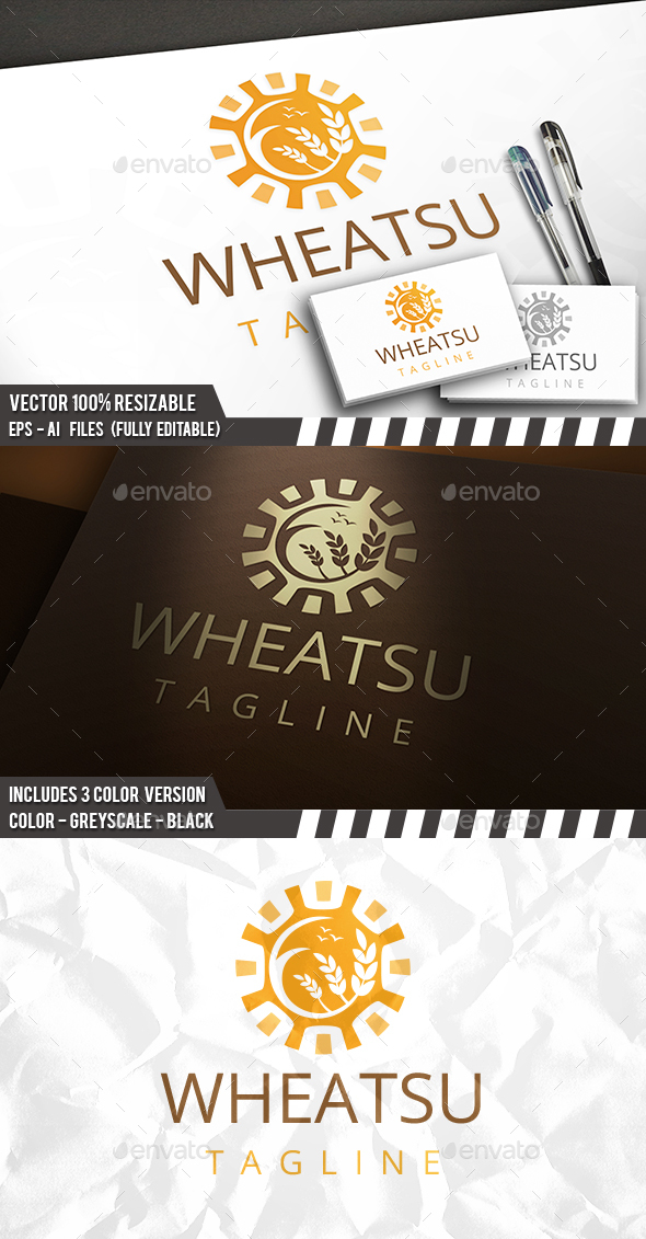 Sun Wheat Grow Logo - Nature Logo Templates