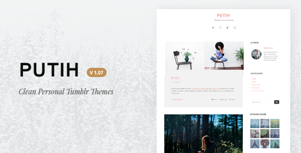 Putih | Clean Personal Tumblr Theme - Blog Tumblr