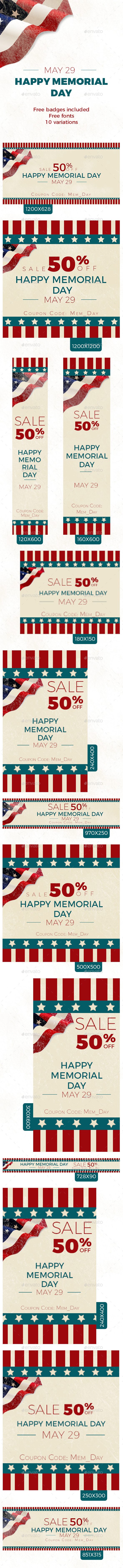 Memorial Day Banners - Banners & Ads Web Elements