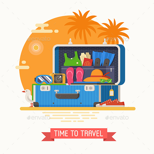 Summer Travel Suitcase - Travel Conceptual