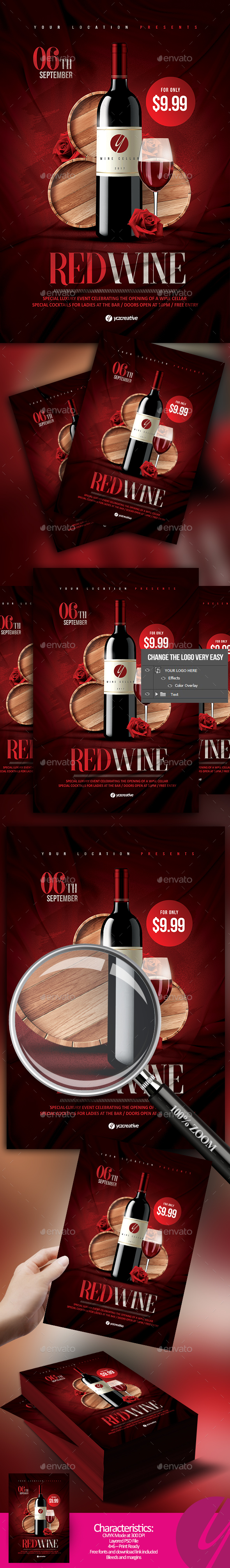 Red Wine Flyer - Restaurant Flyers