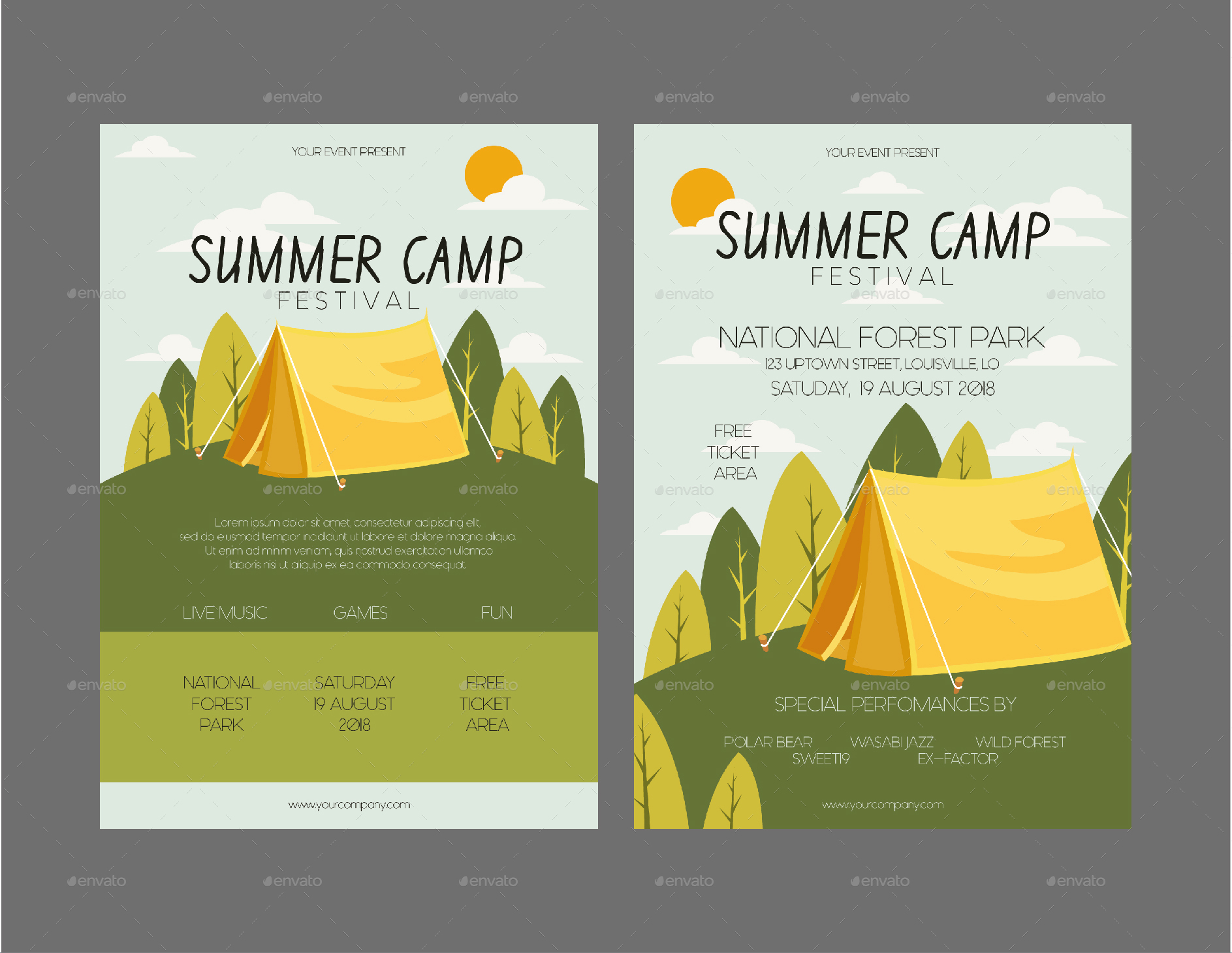 summer camp flyer template by lyllopop graphicriver. Black Bedroom Furniture Sets. Home Design Ideas