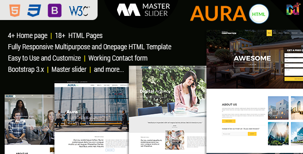 Aura - Responsive Multipurpose HTML5 Template - Corporate Site Templates