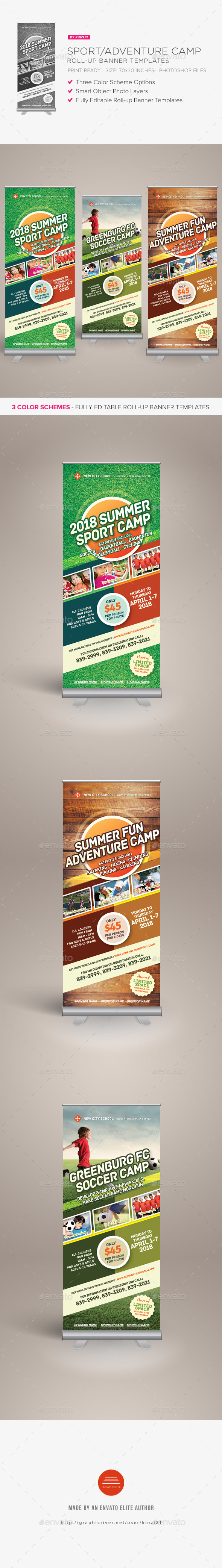 Sport or Adventure Camp Roll-up Banners - Signage Print Templates