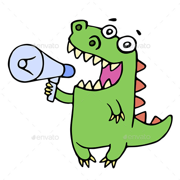 Dinosaur Shouting in Megaphone - Communications Technology