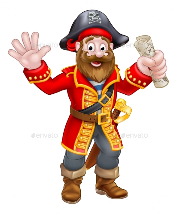 Cartoon Pirate Holding Map - People Characters