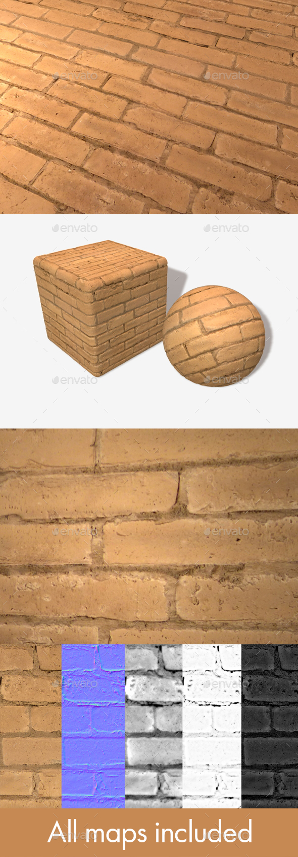 Painted Orange Bricks Seamless Texture - 3DOcean Item for Sale