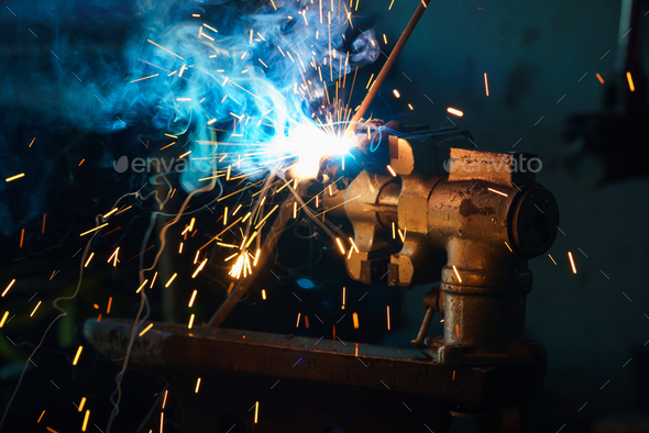 Welding process for metal - Stock Photo - Images