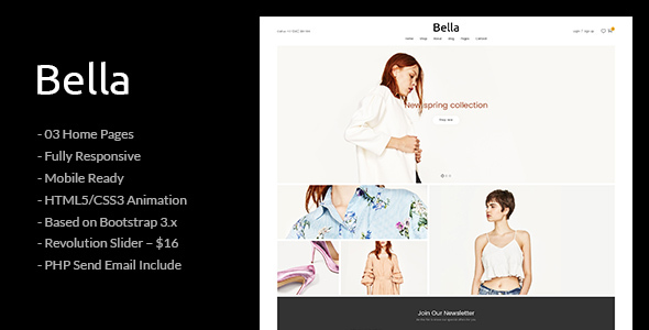 Bella – Responsive Premium Fashion eCommerce and Blog HTML5 Template