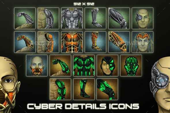 20 Sci-Fi Cyber Details Icons - Miscellaneous Game Assets