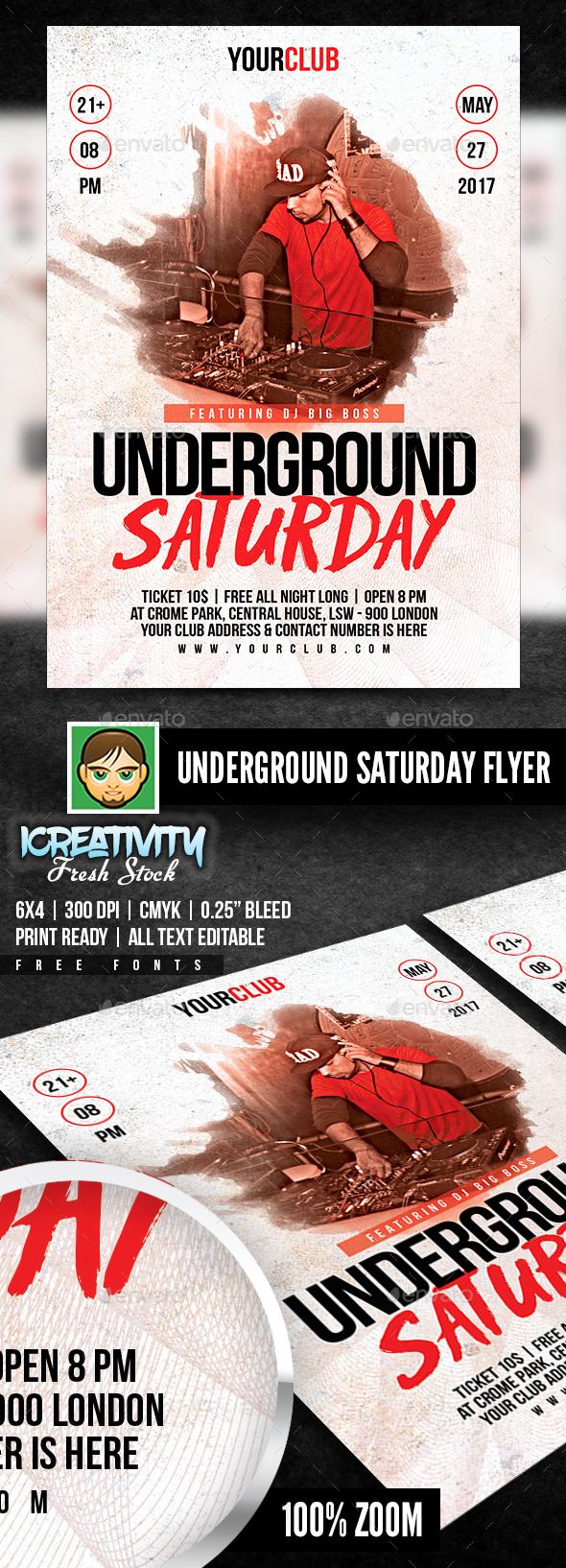 Underground Saturday Flyer - Events Flyers