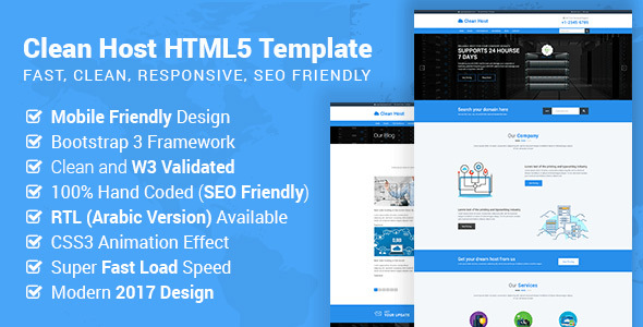 Cleanhost - Responsive Web Hosting HTML5 Template (RTL Included)