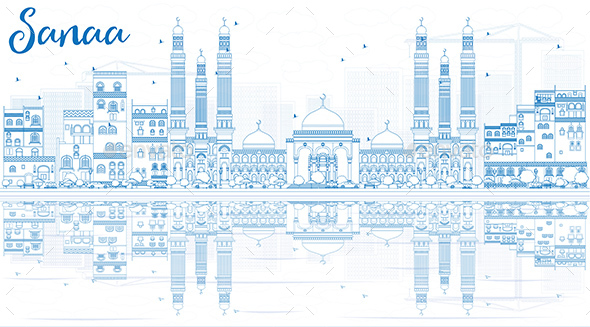 Outline Sanaa (Yemen) Skyline with Blue Buildings and Reflections - Buildings Objects