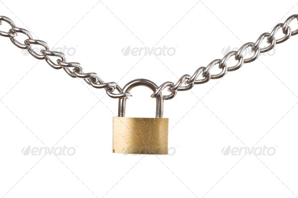 Security concept - padlock on chain isolated - Stock Photo - Images