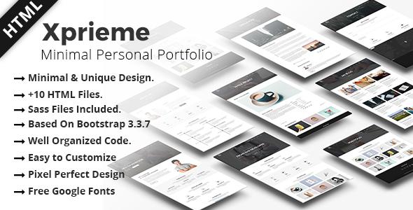 Xpreime - Minimal Personal Portfolio HTML Template.