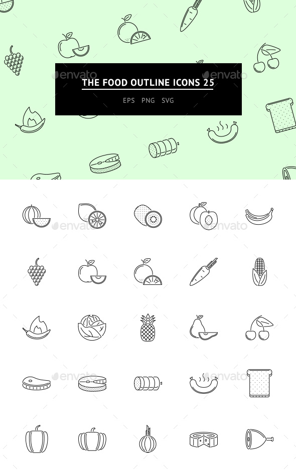 The Food Outline Icons 25 - Web Icons