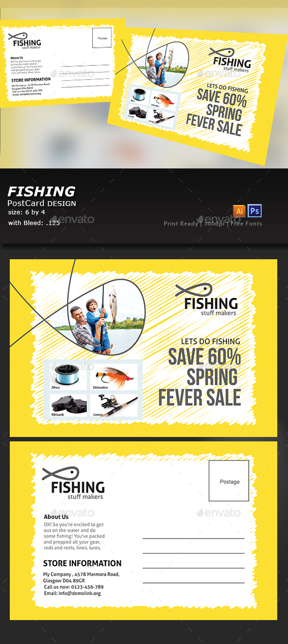 Fishing Equipment Store Post Card - Cards & Invites Print Templates