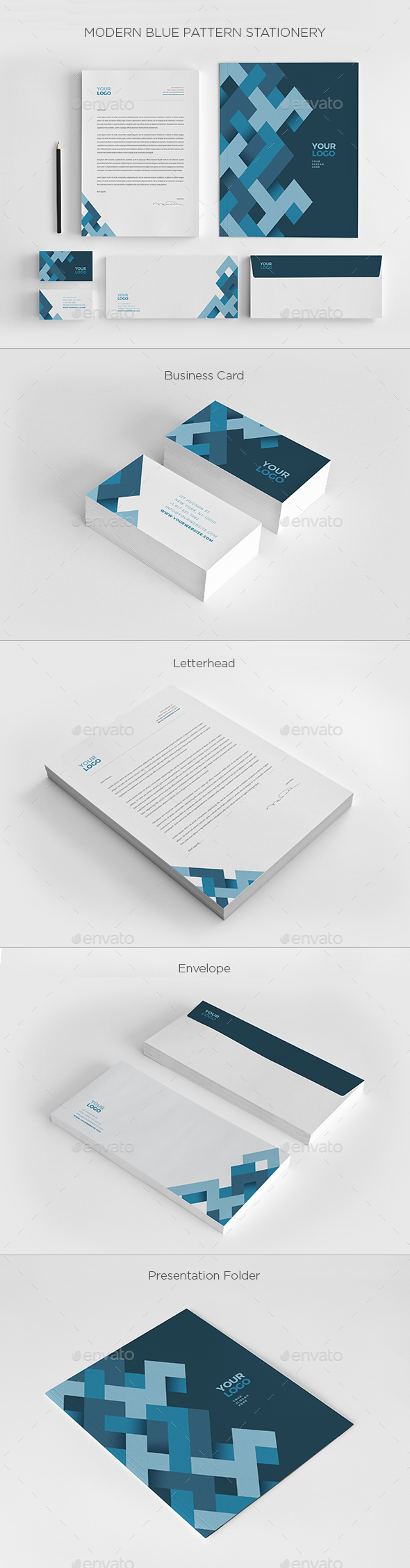 Modern Blue Pattern Stationery - Stationery Print Templates