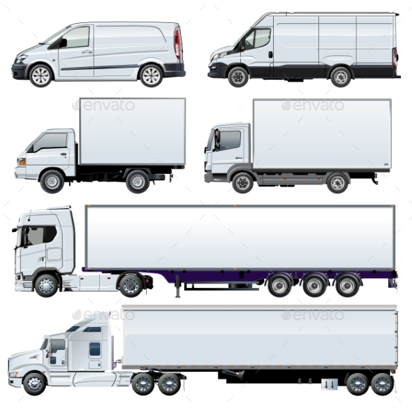 Vector Trucks Template Isolated on White - Man-made Objects Objects