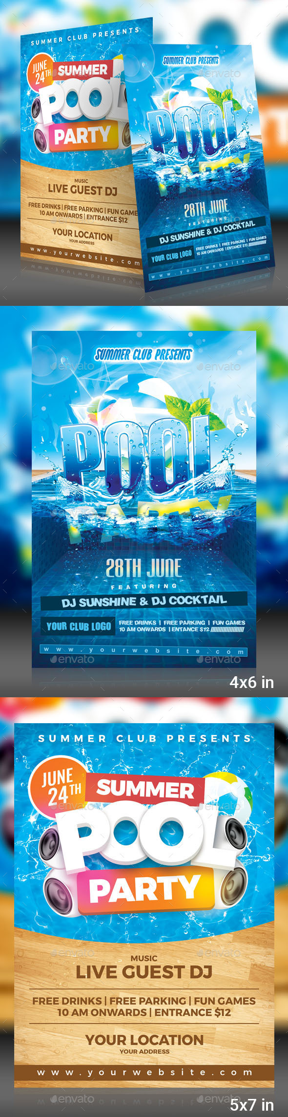 Pool Party Flyer Pack - Events Flyers