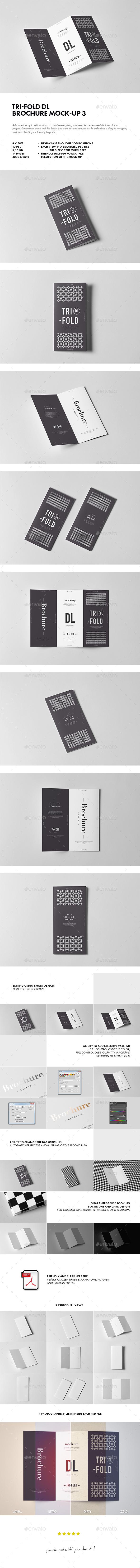 Tri-Fold DL Brochure Mock-up 3 - Brochures Print