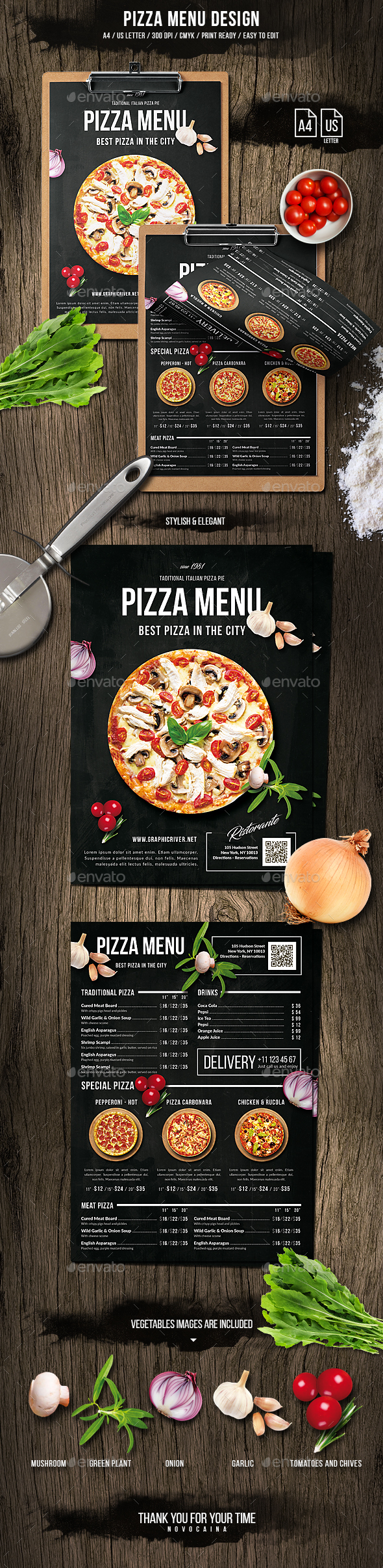 Pizza Menu Design - A4 and US Letter - Food Menus Print Templates