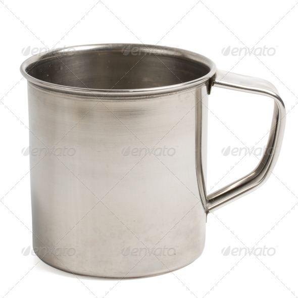 Simple metal cup isolated - Stock Photo - Images