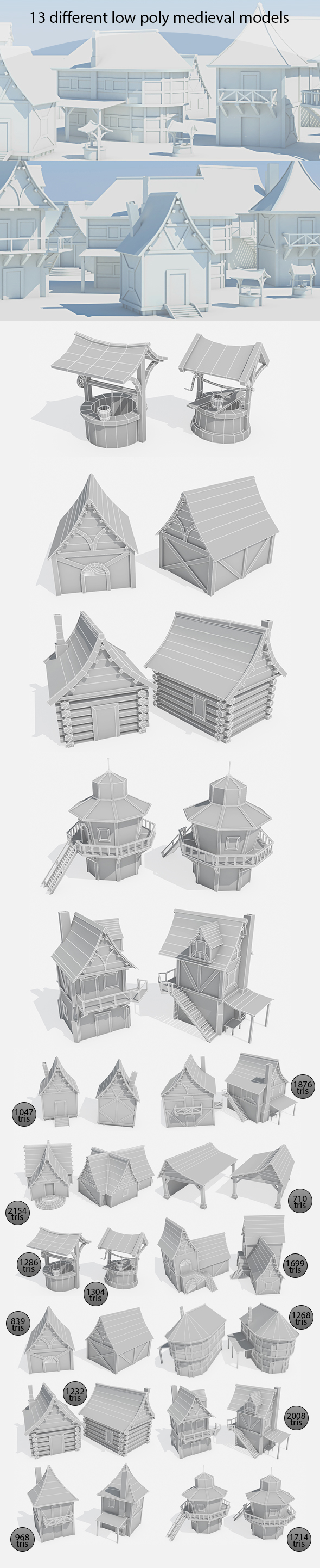 Medieval buildings pack - 3DOcean Item for Sale