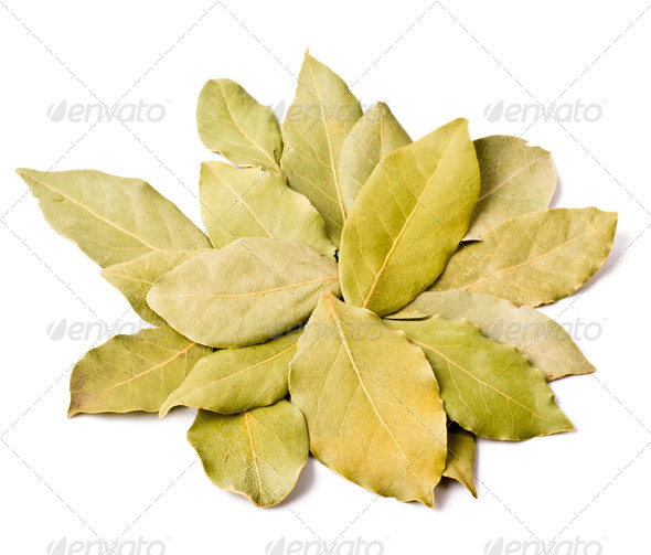 Pile of bay leaves isolated - Stock Photo - Images