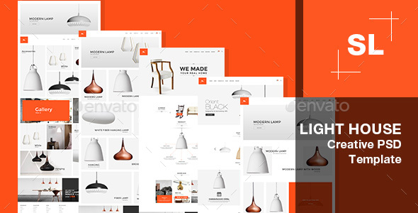 Light House |  Light store,Interior, Lighting Decoration PSD Template. - User Interfaces Web Elements