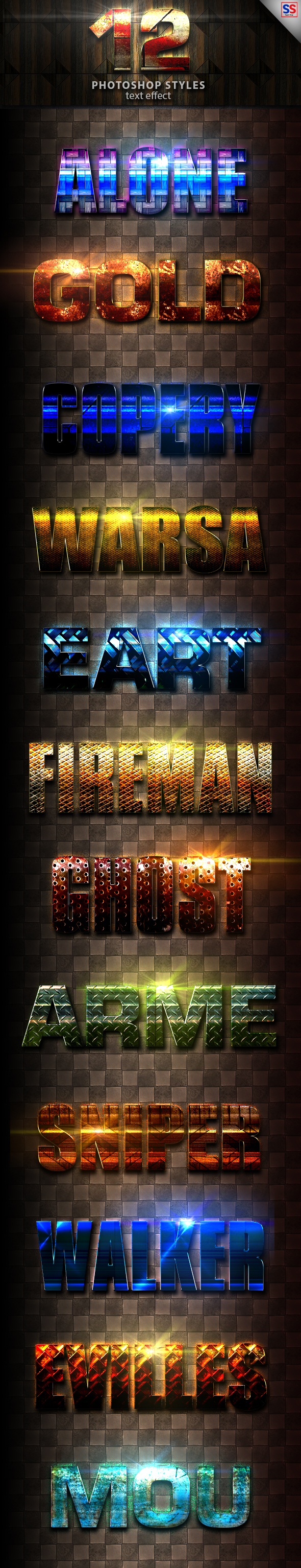 12 Light Photoshop text Effect vol 17 - Text Effects Styles