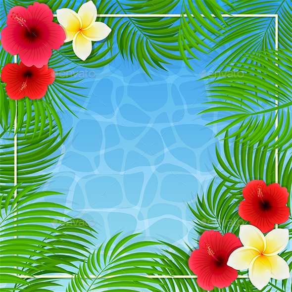 Hawaiian Flowers and Palm Leaves on Water Background - Flowers & Plants Nature