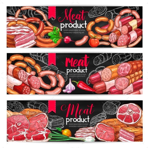Meat and Sausage Menu Blackboard Banner Set - Food Objects