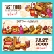 Fast Food Restaurant Sketch Banner Set Design - GraphicRiver Item for Sale