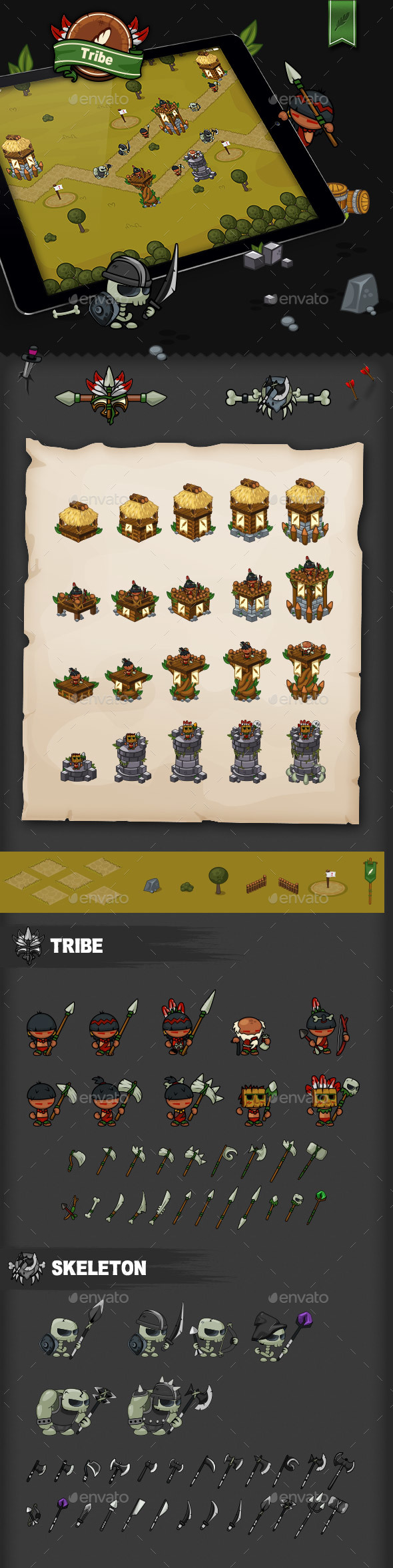 Tower Defense Game Set Tribe - Game Kits Game Assets