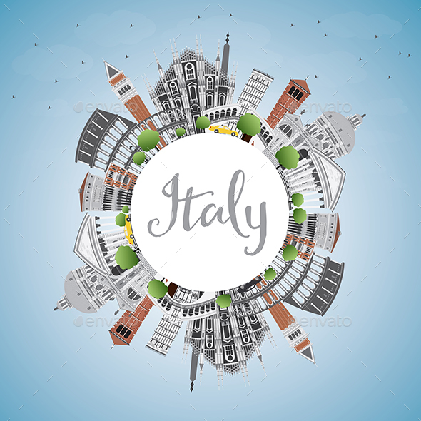 Italy Skyline with Landmarks and Copy Space - Buildings Objects