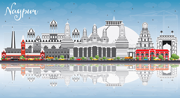 Nagpur Skyline with Gray Buildings, Blue Sky and Reflections - Buildings Objects