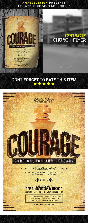 Courage Church Flyer - Church Flyers