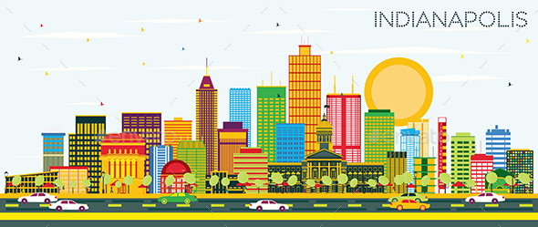 Indianapolis Skyline with Color Buildings and Blue Sky - Buildings Objects