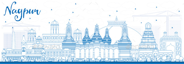 Outline Nagpur Skyline with Blue Buildings - Buildings Objects